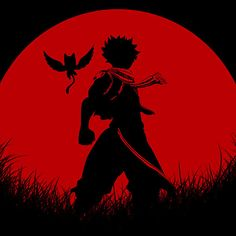 Natsu Dragneel Red Moon Silhouette from fairy tail anime and manga  : Available as Cards, Prints, Posters, T-Shirts & Hoodies, Kids Clothes, Stickers, iPhone & iPod Cases, and iPad Cases and Samsung Case