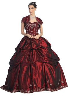 Poofy Sweet 16 Burgundy Dress Gathered Strapless Rhinestone Tie Back $398.99