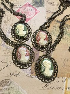 Choose Your Color Cameo Pendant Necklace, Cameo Necklace, Green Cameo, Coral Cameo by vintagerusticrenewal. Explore more products on http://vintagerusticrenewal.etsy.com