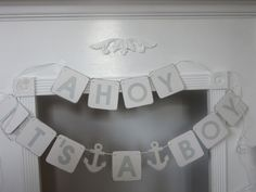 Baby Shower It's A Boy Banner Ahoy It's A Boy by ItzMyParty on Etsy