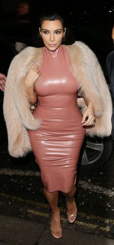 Kim Kardashian Pink Latex Dress