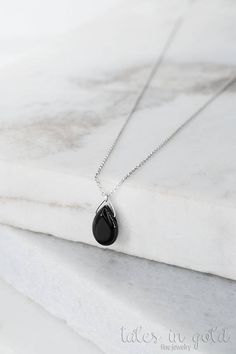 Onyx Gold Necklace Black Onyx Necklace 14k Gold Necklace