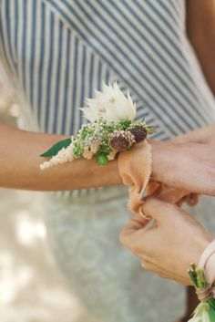 Unique corsage: http://www.stylemepretty.com/2015/05/03/wedding-bouquet-styles-101/
