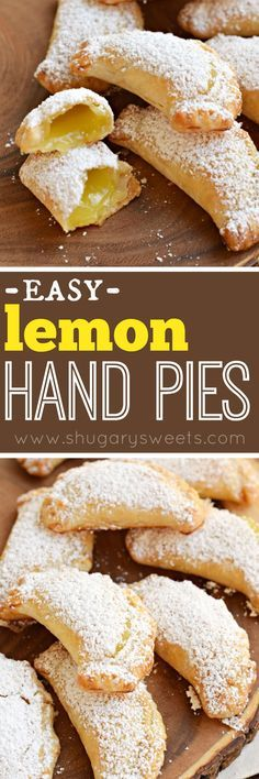 Hand Pies Lemon Hand Pies: flaky, baked hand pies with a sweet lemon filling! Don't forget the dusting of powdered sugar on top!Lemon Hand Pies: flaky, baked hand pies with a sweet lemon filling! Don't forget the dusting of powdered sugar on top! Lemon Desserts, Lemon Recipes, Pie Recipes, Easy Desserts, Sweet Recipes, Baking Recipes, Delicious Desserts, Dessert Recipes, Yummy Food