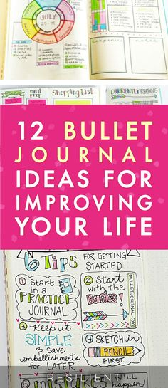 Have you heard of bullet journaling? It's a visual and creative approach to journaling that helps you keep track of things in your life and plan out your days and weeks visually on paper. It's like using a planner but you get to create your own pages however you want! Here are 12 bullet journal ideas for improving your life. #bulletjournal #bulletjournaling #journaling
