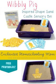 Play in a puddle of puddle, roll in the mud, make sandcastles, and more with Wibbly Pig! Then come get your Wibbly Pig! Adventures with Wibbly! DVD review, giveaway and FREE copy of my Wibbly Pig Inspired Shape Sand Castle Sensory Bin Pack too!