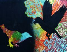 Half and Half Acrylic Painting Bird Silhouette - Conway High School Art Project