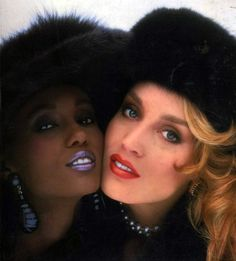 Iman & Jerry Hall, early 80s