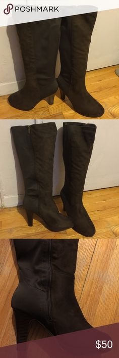 """Lane Bryant Plus Size Dressy Faux Suede Boots Lane Bryant Dressy Faux Suede Zip Up Knee High Boots With Nylon Stretch Panel. These Boots Are Extremely Comfortable And Look Like Very Expensive High End Boots.  3.5"""" Heel, .075"""" Platform, 18.5"""" Boot Height and 18"""" Calf Circumference. Brand New, With Tags. Lane Bryant Shoes Over the Knee Boots"""