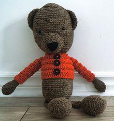 Handmade crochet bear - Isidore - Rustic teddy bear collection  Locally grown 100% wool  http://www.facebook.com/accrochepouce