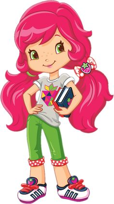 Strawberry Shortcake in pretty cute pigtails of her hair with her school books Strawberry Shortcake Pictures, Strawberry Shortcake Coloring Pages, Strawberry Shortcake Characters, Strawberry Shortcake Birthday, Cartoon Pics, Cute Cartoon, Cartoon Characters, Girl Cartoon, Art Drawings For Kids