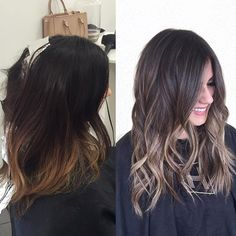 Out with the brass and in with the ash #babylights #hairpainting #sombre #transformation #beforeandafter #balayage #ombre #brunette #prettyhair #hairinspo #beachwaves #hairinsporation
