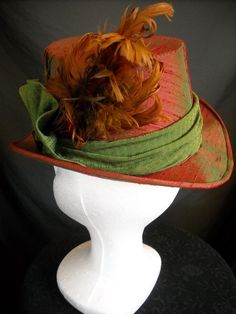 Victorian Ladies Top Hat Red & Green Silk by Redthreaded on Etsy