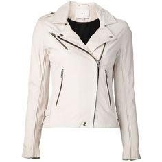 Iro 'Tara' jacket (1 305 AUD) ❤ liked on Polyvore featuring outerwear, jackets, coats, tops, leather jacket, white, leather jackets, white jacket, iro jacket and long sleeve jacket