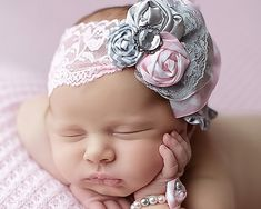 Infant Fabric Flower Rosettes Headband, Gray,Light Pink, White Satin, Lace Newborn Girl, photo prop, baby shower gift,  grey, Baby Pink on Etsy, $13.95