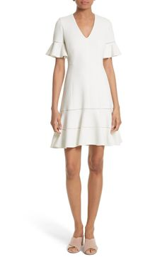 Main Image - Rebecca Taylor Frill Sleeve Texture Knit Dress