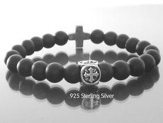 Cross beaded bracelet Men beaded bracelet by EmpathyGifts on Etsy