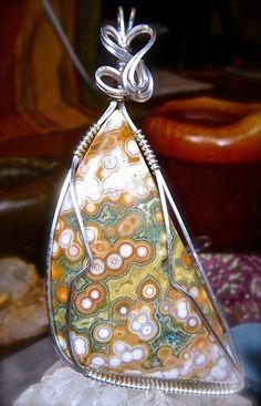 Wire Wrapped OCEAN JASPER Pendant in Argentium Silver Healing Gemstone Silver…