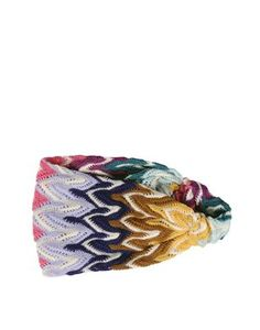 Headband in woven and wool multi-colored ripple-stitch