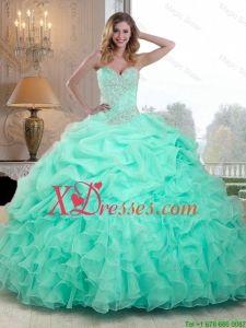 e1f996b4b63 2016 Pretty Beaded and Ruffles Quinceanera Dresses in Apple Green Dresses  Near Me