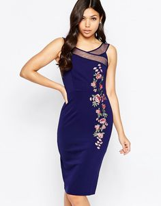 Image 1 ofLittle Mistress Bardot Midi Dress with Embroidery Detail