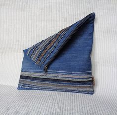 Denim fold clutch bag evening bag pouch recycled jeans