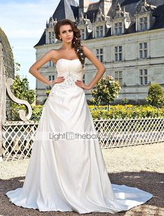 Wedding Dress A Line Chapel Train Satin Strapless With Beading Embroidery - USD $ 229.99