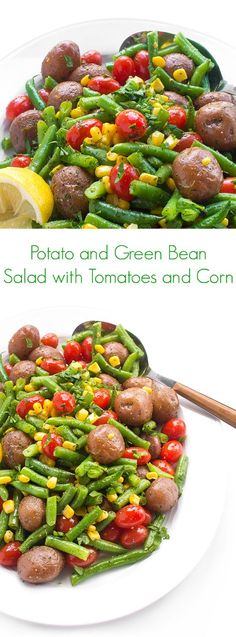 Potato and Green Bean Salad with Tomatoes and Corn - A fast and easy dish that your friends and family will love during the summer months!