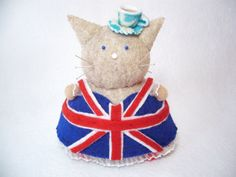 British Cat, English lady cat, English pride, Cute cat pincushion, Cat gifts, Sewing gifts, Anglophile gift, Cute felt cat, Fancy cat by FatCatCrafts