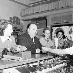 Alfred Hitchcock hits the drugstore soda fountain (J. Alfred Hitchcock Quotes, Hitchcock Film, Vintage Hollywood, Classic Hollywood, Alfred Hitchock, Salman Rushdie, Best Director, Best Novels, Soda Fountain
