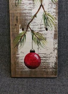 Red Christmas decoration, Christmas Gift, Pine Branch with RED Bulb, hand painted Reclaimed barnwood, Christmas decor Red Hand bemalt Weihnachtsdekoration von TheWhiteBirchStudio Original Acrylic painting on reclaimed barnwood boards. This unique piece is Pallet Christmas, Christmas Signs, Rustic Christmas, Christmas Projects, Red Christmas, Christmas Bulbs, Christmas Wood Crafts, Diy Christmas Decorations, Christmas Ideas