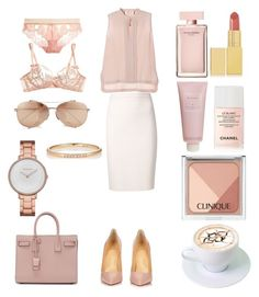 """""""Без названия #3419"""" by southerncomfort ❤ liked on Polyvore featuring Lanvin, Yves Saint Laurent, Skagen, Linda Farrow, Zoe, Narciso Rodriguez, Chantecaille, AERIN, Chanel and Clinique"""