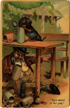 Dachshund Dog Beer Drinking German Vintage by PostcardBoutique