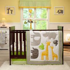 Set the stage for sweet safari dreams, complete with happy hippos, elephants, turtles, and giraffes in a stylish combination of greys, greens, and yellows.
