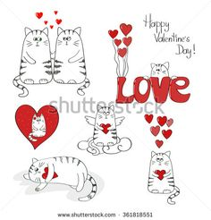 Cute cats in love. Valentines day set. Collection of doodle vector illustrations.