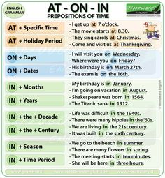 Prepositions of Time At On In English Grammar Notes – Preposiciones de Tiempo en… Prepositions of Time At On In English Grammar Notes – Prepositions of Time in English English Grammar Notes, Teaching English Grammar, English Phrases, English Language Learning, English Writing, English Study, English Words, English Lessons, French Lessons