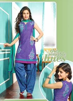 Classy Blue & Sky Blue Chiffon Based Salwar #Suit With Resham Work #salwarkameez #ethnicwear #womenapparel #womendresses