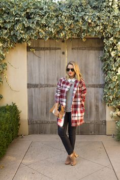 11.13 the plaid coat (Topshop plaid coat + Madewell top + Old Navy jeans + Banana Republic heels + Clare V clutch + Ray Ban sunnies + NARS 'heat wave' lipstick)