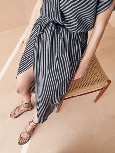 madewell wrap-front dress worn with the boardwalk lace-up sandal.