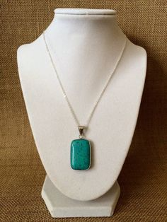 Blue Rectangle Pendant Necklace by TheJewelryBoxe on Etsy