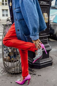 September 29, 2016  Tags Red, Pink, Paris, Blue, Shoes, Denim, Balenciaga, Silver, Women, Metallic, High Heels, Jackets, Necklaces, Rings, Trousers, Sequins, Tattoos, Embellished, SS17 Women's