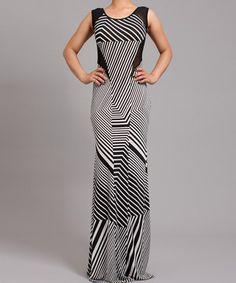 Look at this #zulilyfind! Symphony Black & White Geometrical Stripe Maxi Dress - Women by Symphony #zulilyfinds