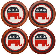 Republican Needlepoint Coasters in White by Smathers & Branson