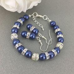 Pulsera azul marino azul marino y pulsera por DaisyBeadzJoaillerie