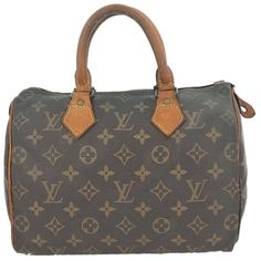 Pre-owned Louis Vuitton Speedy 25 Monogram Boston Hand Browns Travel... ($249) ❤ liked on Polyvore featuring bags, luggage and browns