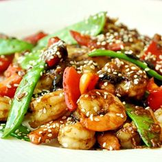 Spicy Blackbean Ginger Shrimp - another great weekday dinner that's ready in no time. Make it as spicy as you like or skip the heat altogether; there's still plenty of great Asian inspired flavor here.
