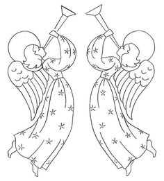 Trumpeting Angels Embroidery Pattern