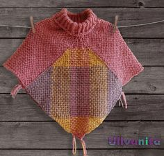 Pink and pastel tones baby girl poncho with collar by Ullvuna