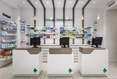 Destudio | Farmacia Cuenca Interiores Design, Pharmacy, New Homes, Bar, Shopping, Furniture, Home Decor, Corner, Cosmetics