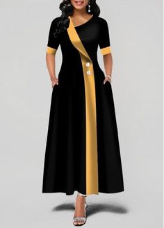 Party Dresses For Women Asymmetric Neck Button Detail Pocket Maxi Dress Trendy Dresses, Tight Dresses, Women's Dresses, Dress Outfits, Fashion Outfits, Dress Fashion, Ladies Dresses, Long Dresses, Casual Dresses